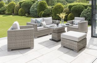 Aya Rattan 5 Seater Sofa Set in Grey/Carbon