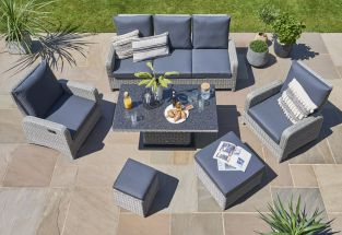 Hawaii 7 Seater Rattan Sofa Set in Carbon/Grey