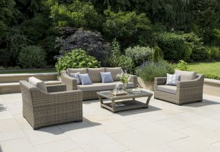 Lotus 5 Seater Rattan Lounge Set in Camel