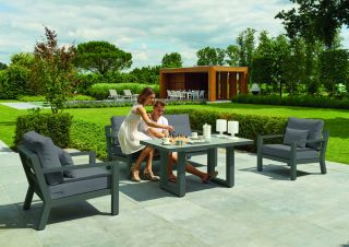 Timber 4 Seater Sofa Set in Carbon