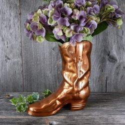 26cm/10¼in Copper Cowboy Boot Planter