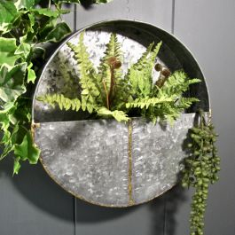 30cm/11¾in Round Steel Wall Planter
