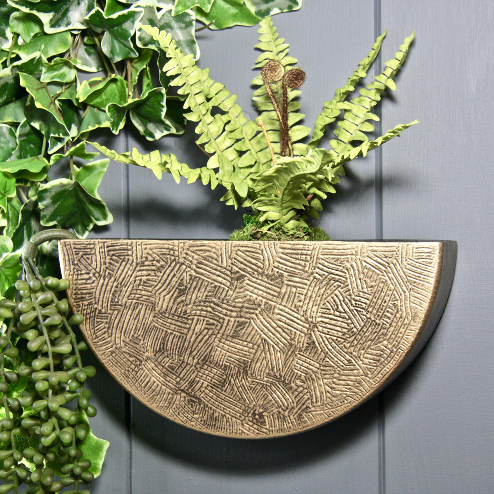 25cm 9 In Semi Circle Wall Planter In Brass 34 99