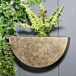 25cm/9¾in Semi Circle Wall Planter in Brass