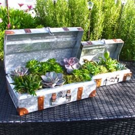 39cm/1ft 3¼in Set Of Two Galvanised Steel Suitcase Planters