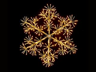 60cm Gold Christmas Snowflake Starburst Wall Decoration with Warm White LED's