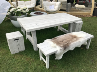 Foremost Natural White Bench - 90 x 180cm