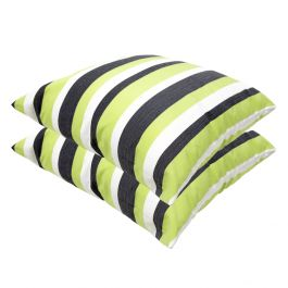Lime Green Striped Outdoor Scatter Cushion 45x45cm - Pack Of 2