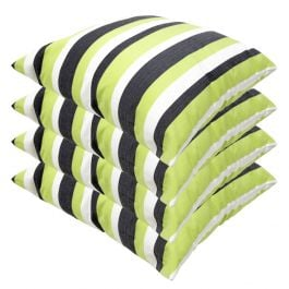 Lime Green Striped Outdoor Scatter Cushion 45x45cm - Pack Of 4