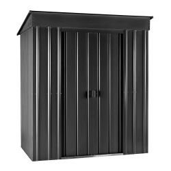 Lotus 8ft x 4ft Pent Solid Metal Shed in Anthracite Grey
