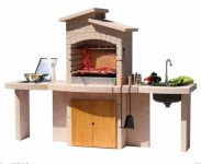 Mallorca Stone BBQ Grill with Two Side Tables, Cupboard, sink and gas hob