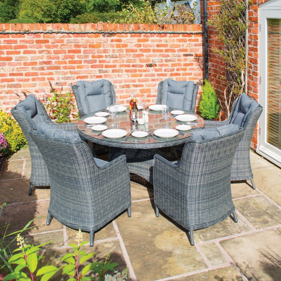 Manhattan Six Seater Rattan Dining Set in Grey by Rowlinson