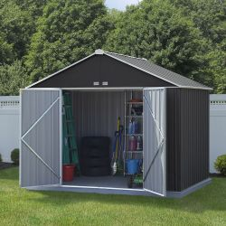 10ft x 8ft Grey Metal Ezee Shed by Rowlinson