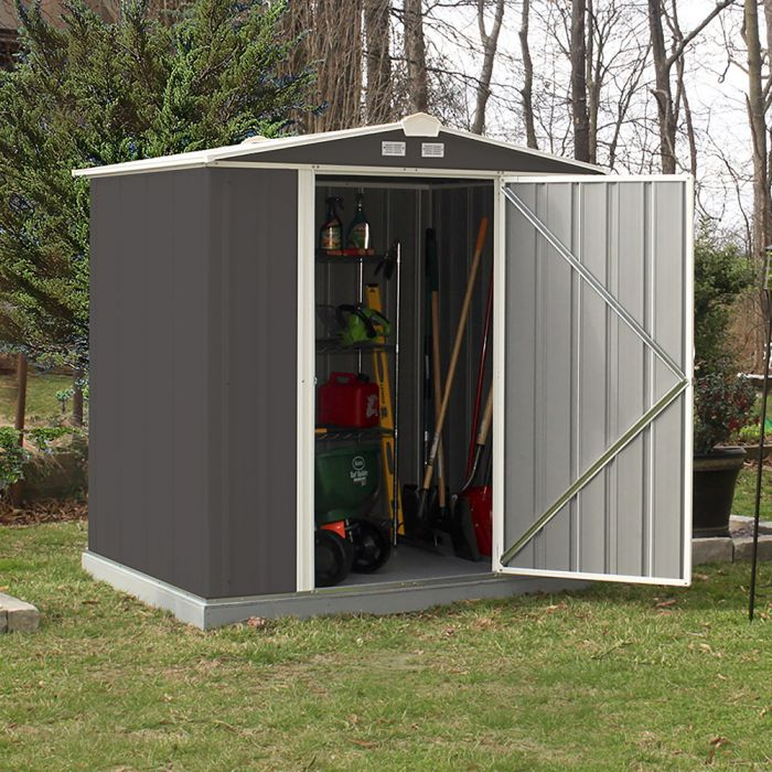 6ft x 5ft Grey Metal Ezee Shed by Rowlinson