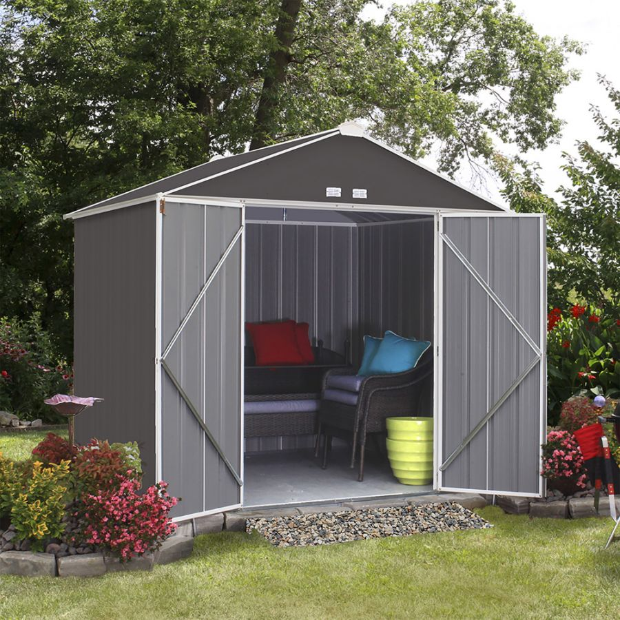 8ft x 7ft Grey Metal Ezee Shed by Rowlinson