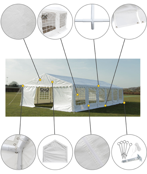 "3m x 8m (9ft 10"" x 26ft 3"") Luxury Marquee / Party Tent"