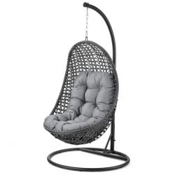 Malibu Rattan Hanging Chair in Grey