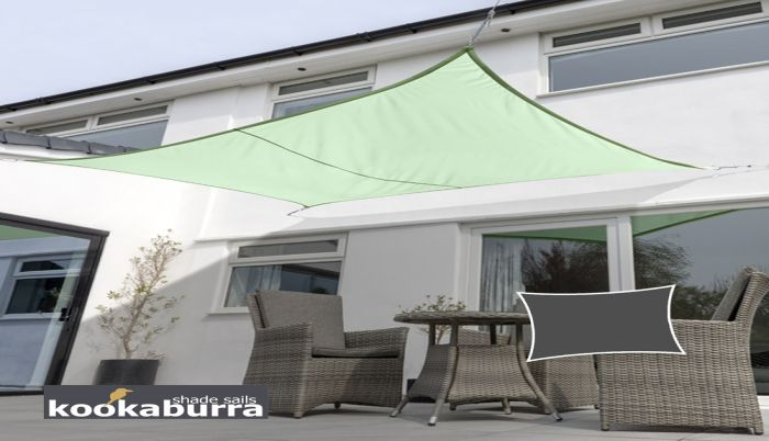 Kookaburra® 3mx2m Rectangle Mint Waterproof Woven Shade Sail