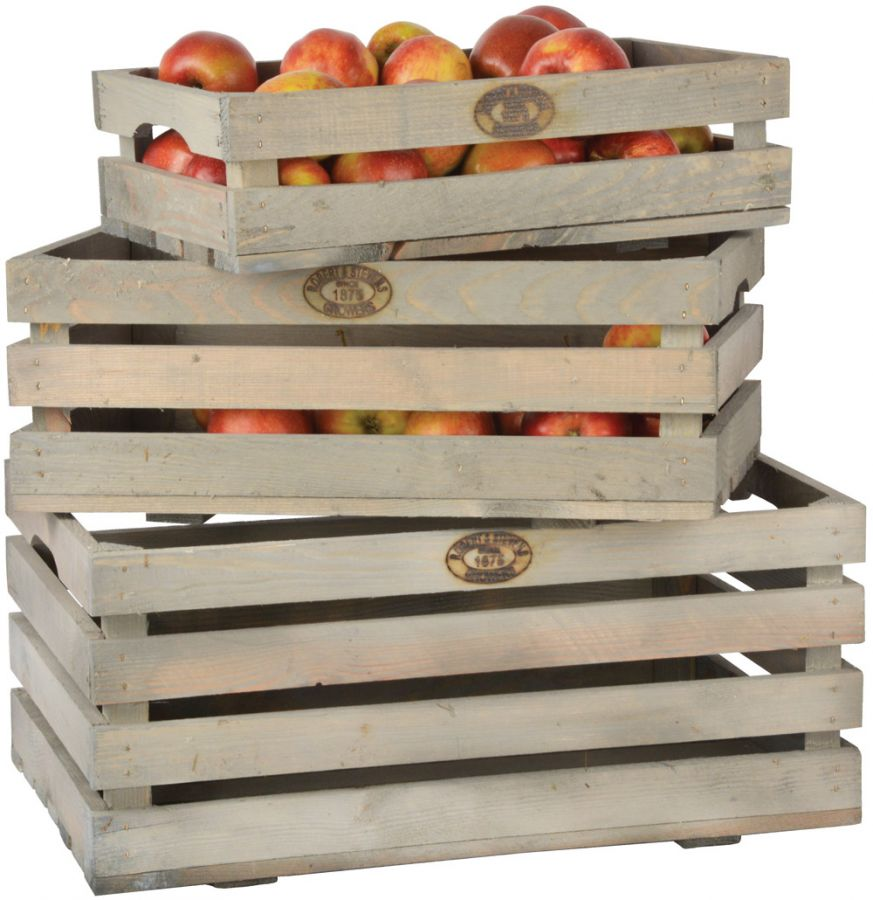 Outdoor Fruit Crates, Wooden - 59cm