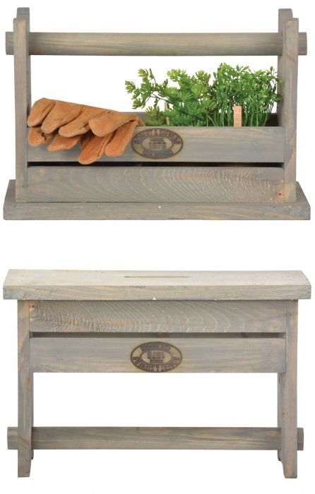 Outdoor Wooden Tool Crate - 39cm