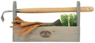 Outdoor Wooden Tool Carrier - 39cm