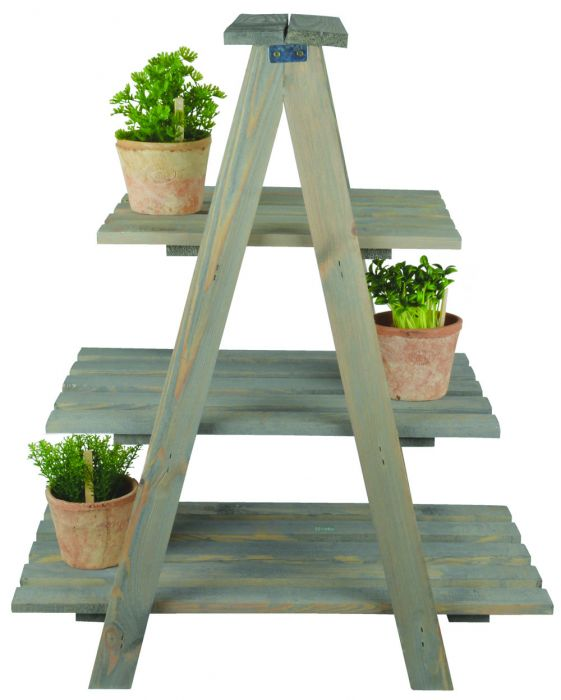 Outdoor Wooden Triangular Plant Ladder -73cm