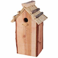 Great Tit Bird House With Thatched Roof