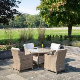 Luxury 4 Seater Circle Garden Dining Set in Natural Rattan by Primrose Living