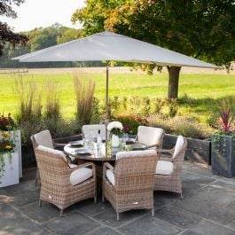 Luxury Rattan 6 Seater Circular Garden Dining Set by Primrose Living