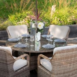 Luxury 6 Seater Circle Garden Dining Set in Natural Rattan by Primrose Living