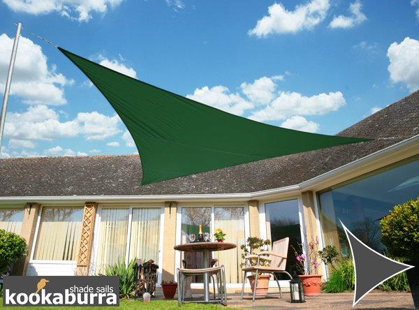 Kookaburra® 5m Triangle Green Waterproof Woven Shade Sail