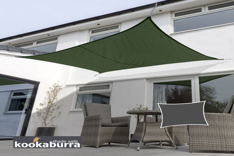Kookaburra 3mx2m Rectangle Green Waterproof Woven Shade Sail