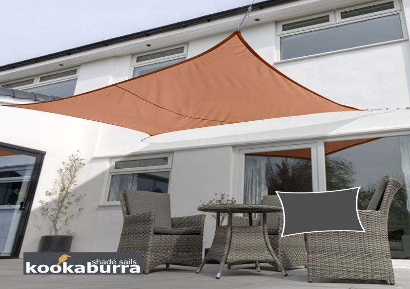Kookaburra® 4mx3m Rectangle Terracotta Party Sail Shade (Woven - Water Resistant)