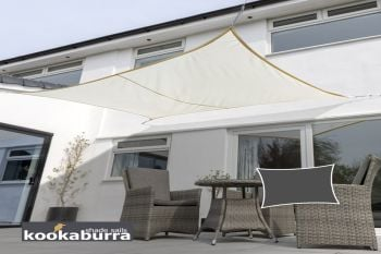 Kookaburra® 5mx4m Rectangle Ivory Waterproof Woven Shade Sail