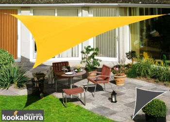 Kookaburra® 6m Right Angle Triangle Yellow Waterproof Woven Shade Sail