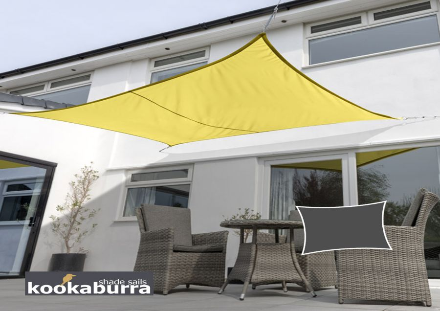 Kookaburra® 4mx3m Rectangle Yellow Waterproof Woven Shade Sail