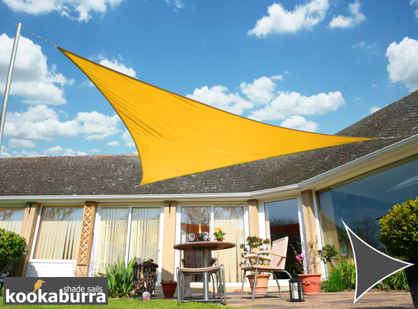 Kookaburra® 3m Triangle Yellow Waterproof Woven Shade Sail