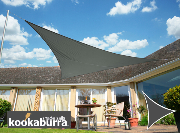 Kookaburra® 3m Triangle Charcoal Waterproof Woven Shade Sail