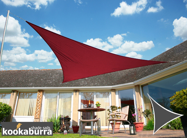 Kookaburra 5m Triangle Wine/Burgundy Waterproof Woven Shade Sail