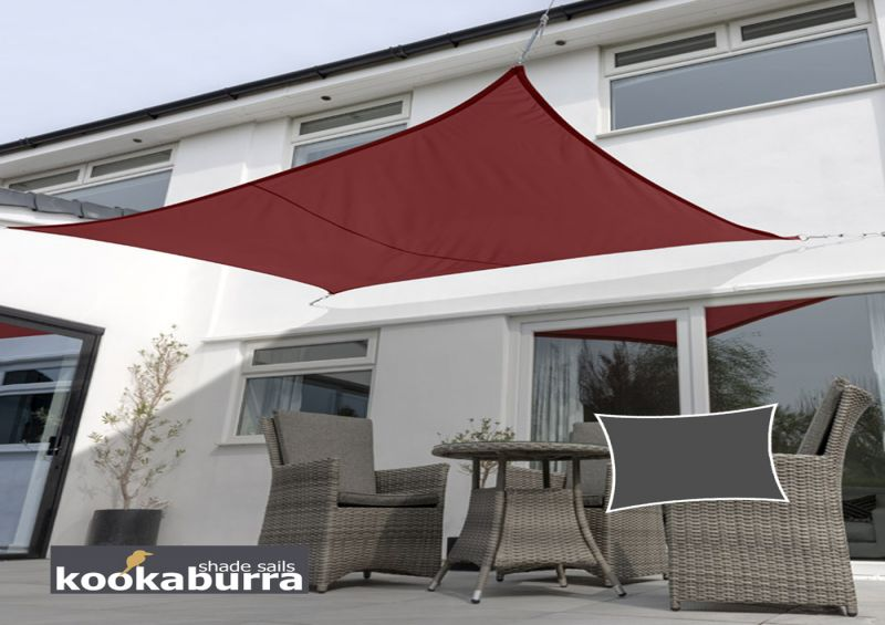 Kookaburra® 3mx2m Rectangle Wine Waterproof Woven Shade Sail
