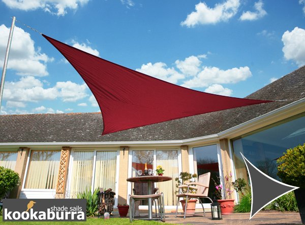Kookaburra® 3m Triangle Wine/Burgundy Waterproof Woven Shade Sail