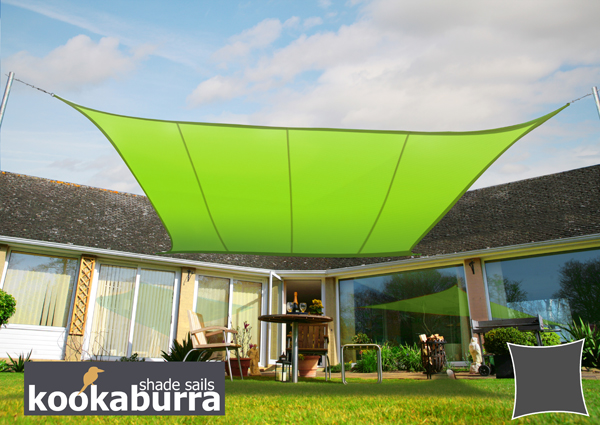 Kookaburra® 5.4m Square Lime Green Waterproof Woven Shade Sail