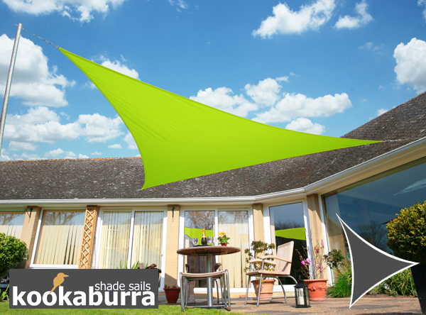 Kookaburra® 5m Triangle Lime Green Waterproof Woven Shade Sail