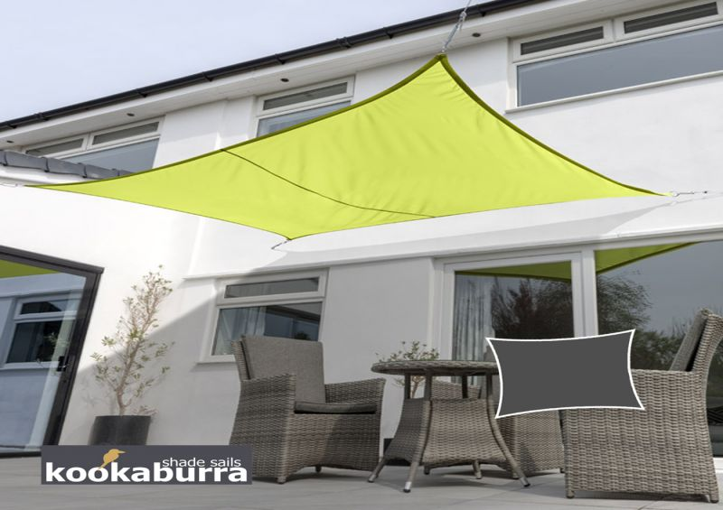 Kookaburra® 3mx2m Rectangle Lime Green Waterproof Woven Shade Sail