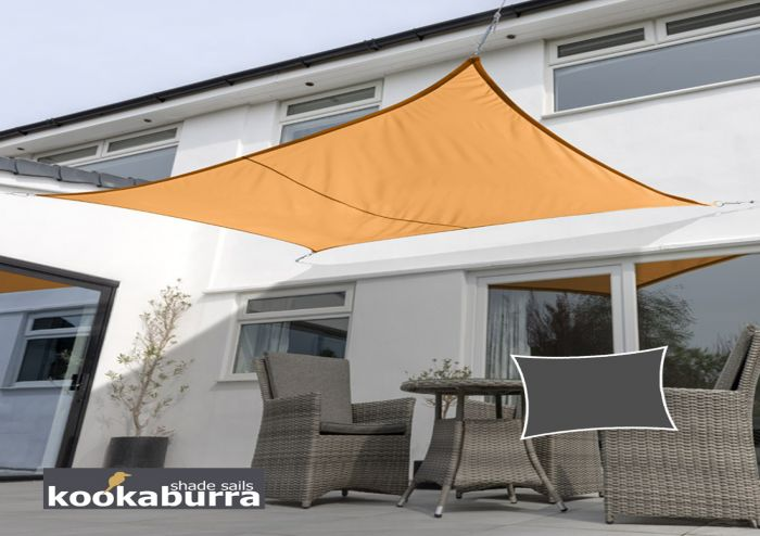 Kookaburra® 4mx3m Rectangle Orange Waterproof Woven Shade Sail