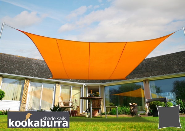 Kookaburra® 3.6m Square Orange Waterproof Woven Shade Sail