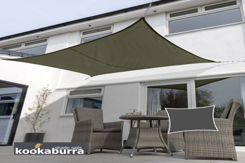 Kookaburra® 3mx2m Rectangle Sage Waterproof Woven Shade Sail