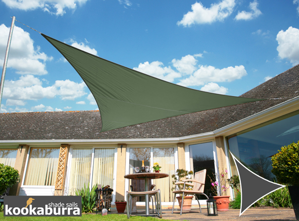 Kookaburra 3.6m Triangle Sage Waterproof Woven Shade Sail