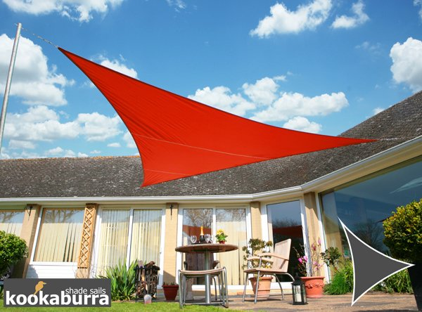Kookaburra® 5m Triangle Red Waterproof Woven Shade Sail