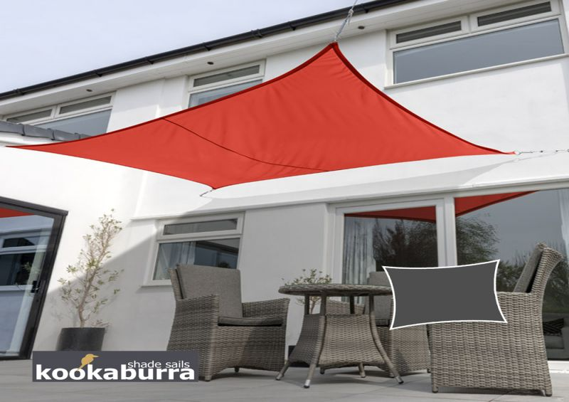 Kookaburra® 4mx3m Rectangle Red Waterproof Woven Shade Sail